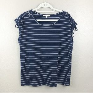 C&C California stripes navy blue top sz large